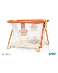 Box per bambino con maniglie materassino e pupazzo Brevi Love Natural forma quadrata