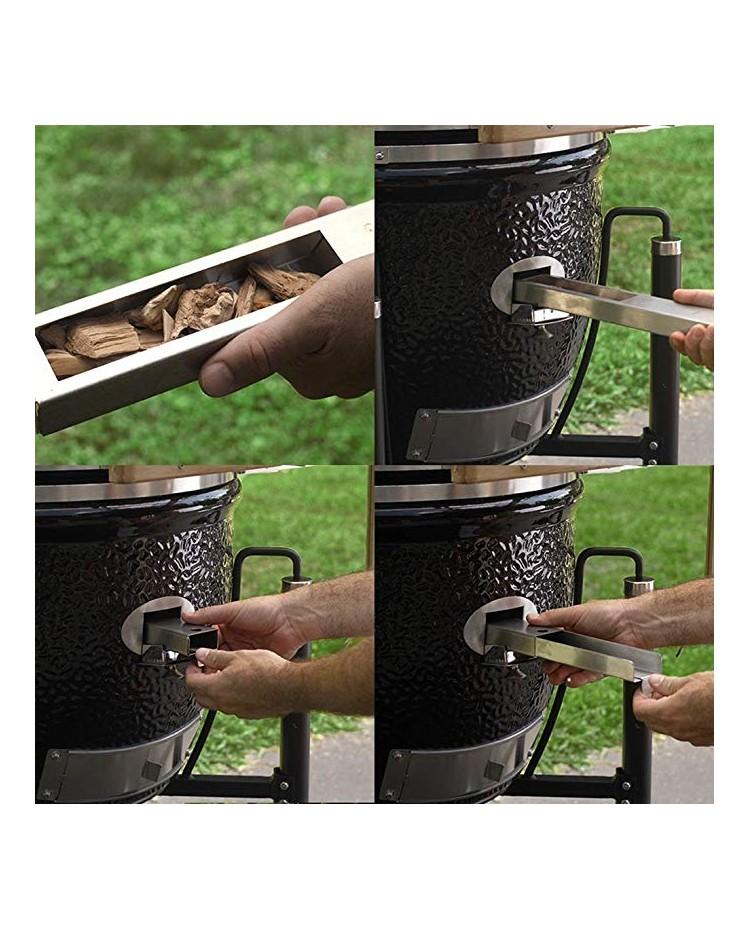 Barbecue MONOLITH KAMADO mod. LeCHEF PRO-SERIE 1.0 a carbone con mensole laterali